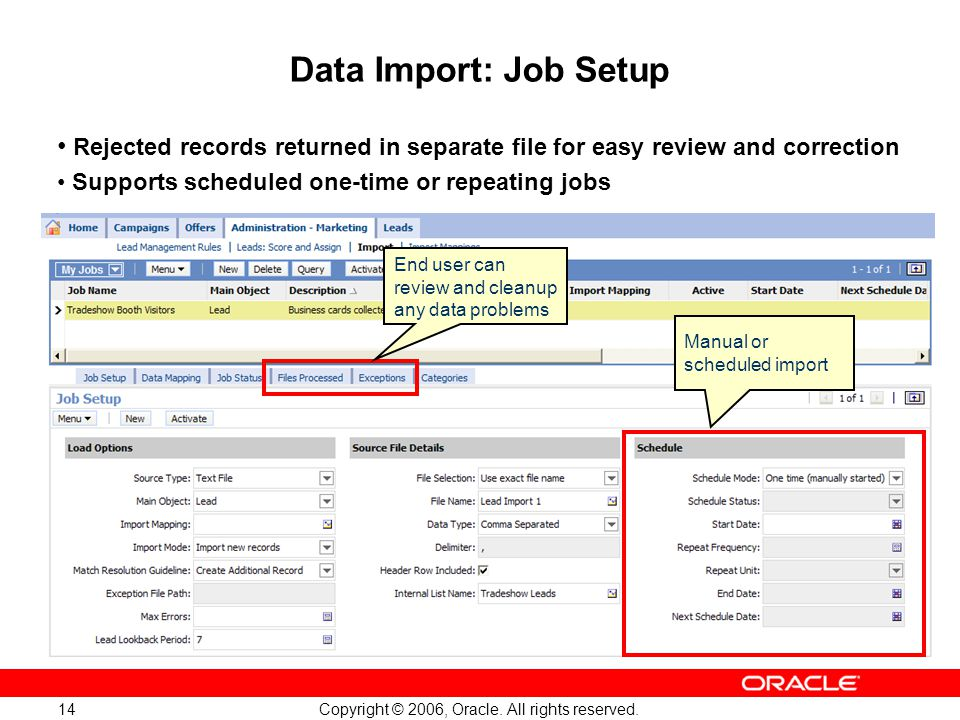 Copyright © 2006, Oracle. All rights reserved. 14 Manual or scheduled import End user can review and cleanup any data problems Data Import: Job Setup