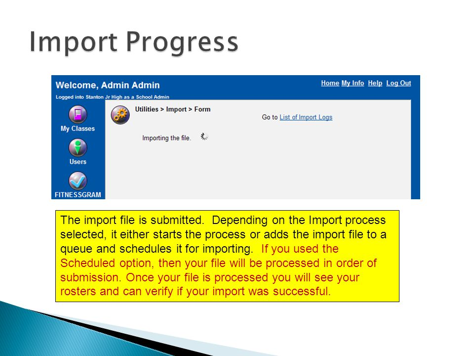 The import file is submitted.