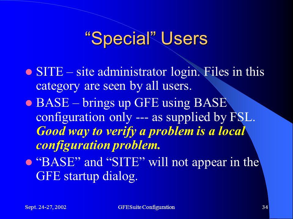 Sept. 24-27, 2002GFESuite Configuration34 Special Users SITE – site administrator login.