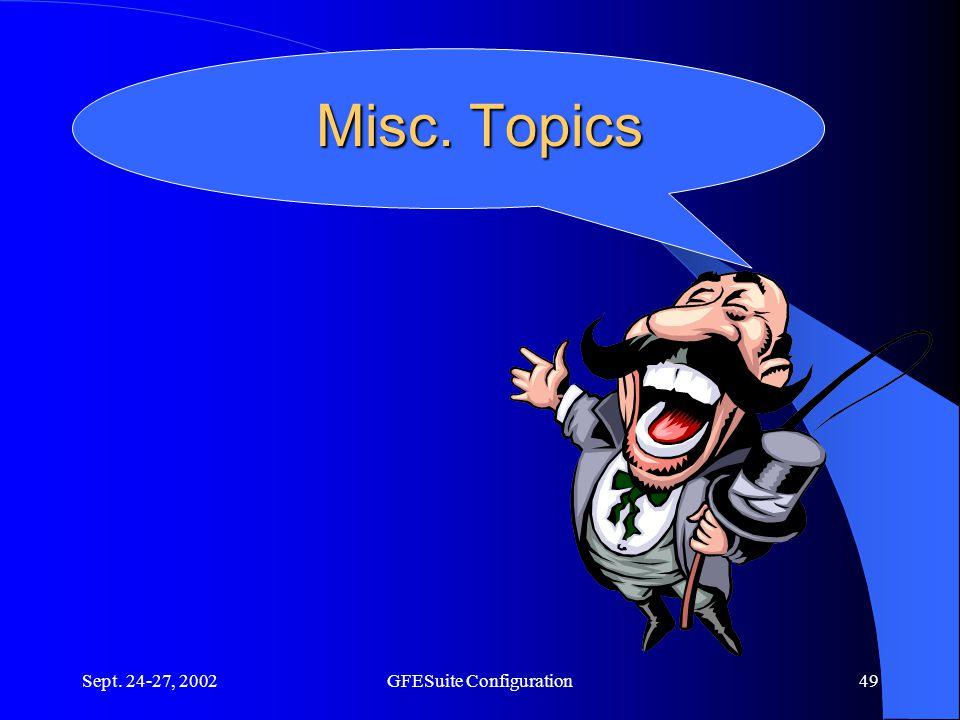 Sept. 24-27, 2002GFESuite Configuration49 Misc. Topics