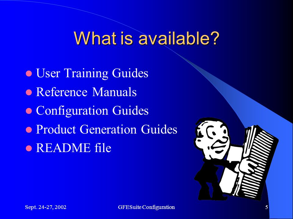 Sept. 24-27, 2002GFESuite Configuration5 What is available.