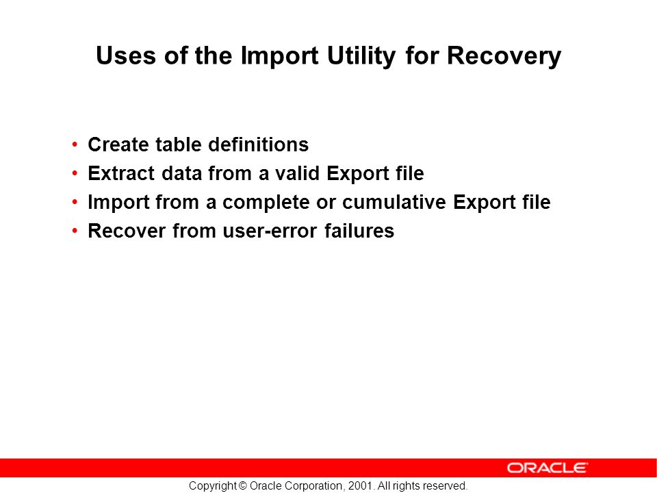 Copyright © Oracle Corporation, 2001. All rights reserved. Uses of the Import Utility for Recovery Create table definitions Extract data from a valid