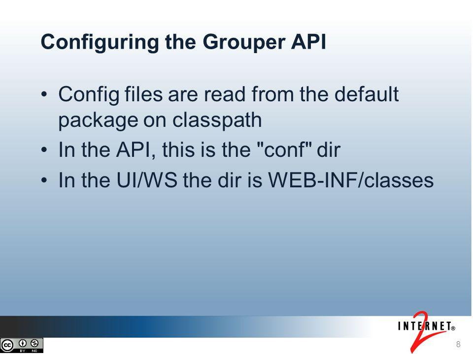 9 Grouper API config files grouper.properties - main config file grouper.hibernate.properties - DB config grouper-loader.properties - Loader config sources.xml - Subject API config log4j.properties - Logging config ehcache.xml - Cache config
