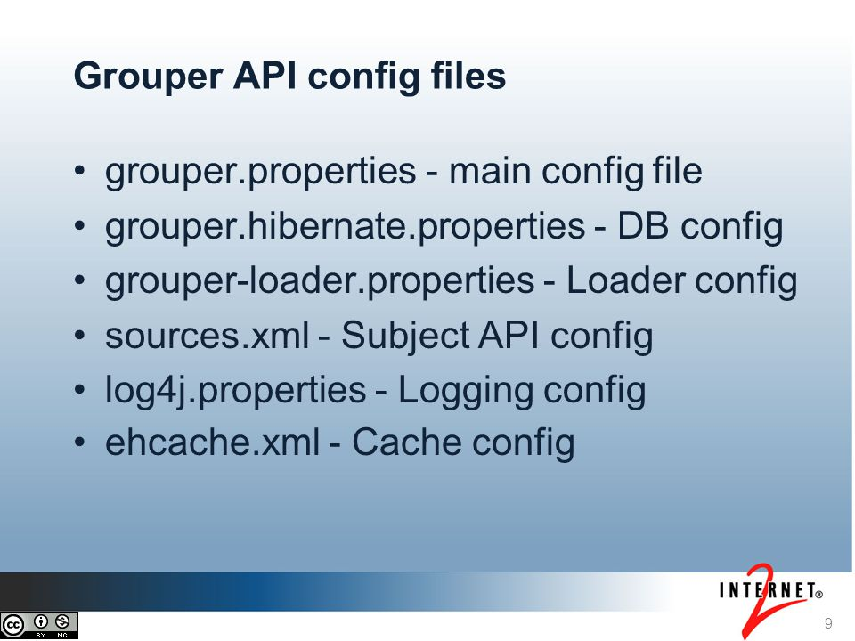 10 Grouper API configuration information Config changes require a restart of the JVM Each config file has an example config file which lists documentation and all of the available config options Read through the example files to see what is available