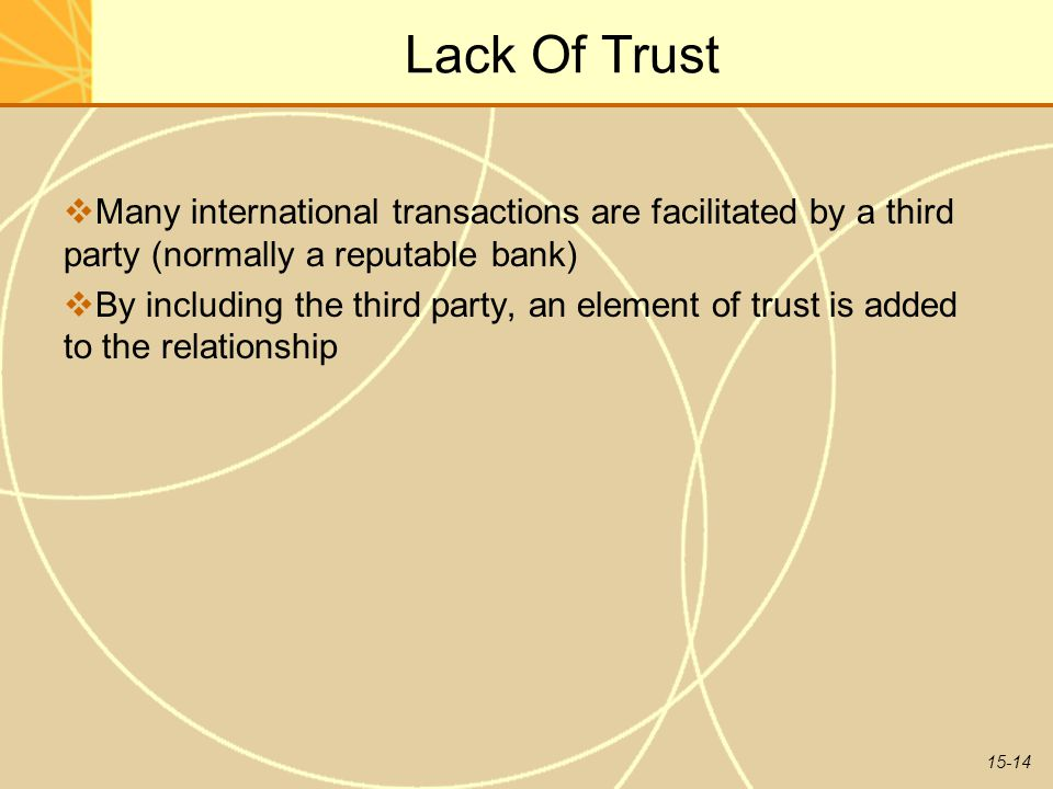 15-14 Lack Of Trust  Many international transactions are facilitated by a third party (normally a reputable bank)  By including the third party, an element of trust is added to the relationship