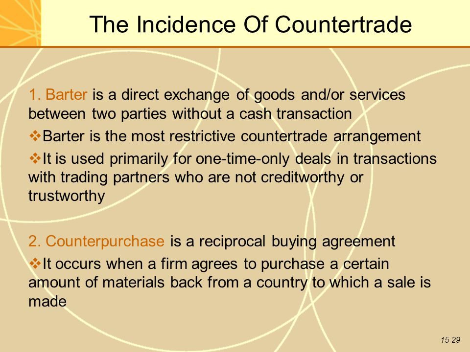 15-29 The Incidence Of Countertrade 1.