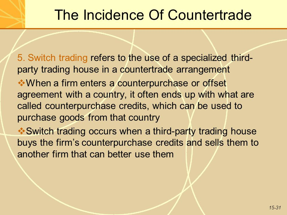 15-31 The Incidence Of Countertrade 5. Switch trading refers to the use of a specialized third- party trading house in a countertrade arrangement  Wh