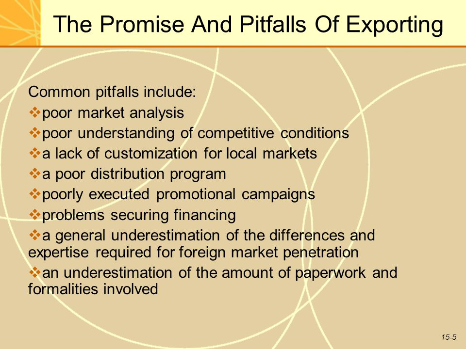 15-5 The Promise And Pitfalls Of Exporting Common pitfalls include:  poor market analysis  poor understanding of competitive conditions  a lack of customization for local markets  a poor distribution program  poorly executed promotional campaigns  problems securing financing  a general underestimation of the differences and expertise required for foreign market penetration  an underestimation of the amount of paperwork and formalities involved