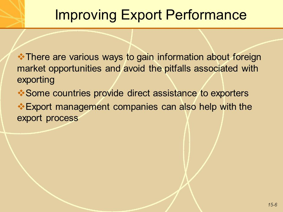 15-6 Improving Export Performance  There are various ways to gain information about foreign market opportunities and avoid the pitfalls associated wi