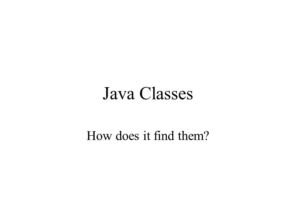 Java Classes How does it find them?