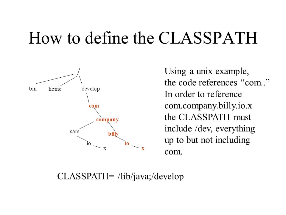 How to define the CLASSPATH / bin home develop com company billy io x x sam Using a unix example, the code references com.. In order to reference com.company.billy.io.x the CLASSPATH must include /dev, everything up to but not including com.