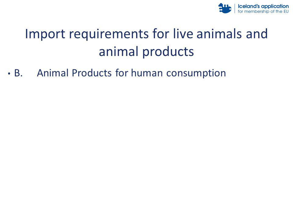 B.Animal Products for human consumption Import requirements for live animals and animal products