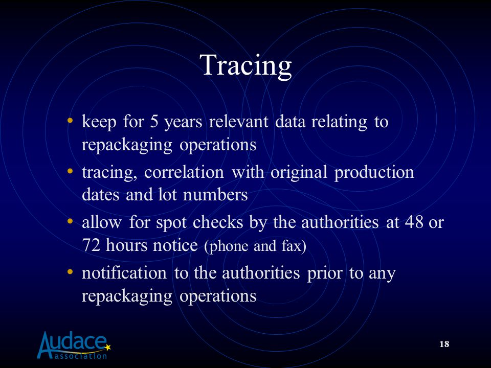 18 Tracing keep for 5 years relevant data relating to repackaging operations tracing, correlation with original production dates and lot numbers allow for spot checks by the authorities at 48 or 72 hours notice (phone and fax) notification to the authorities prior to any repackaging operations