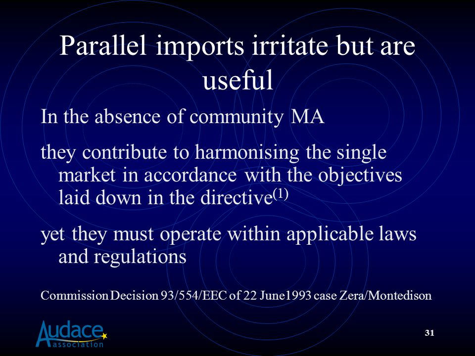 31 Parallel imports irritate but are useful In the absence of community MA they contribute to harmonising the single market in accordance with the objectives laid down in the directive (1) yet they must operate within applicable laws and regulations Commission Decision 93/554/EEC of 22 June1993 case Zera/Montedison