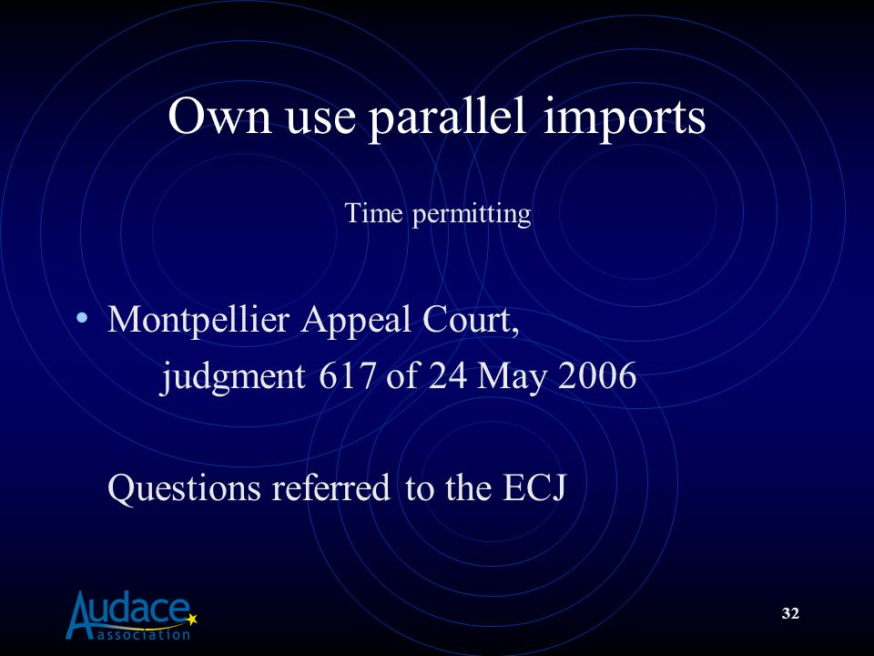 32 Own use parallel imports Time permitting Montpellier Appeal Court, judgment 617 of 24 May 2006 Questions referred to the ECJ