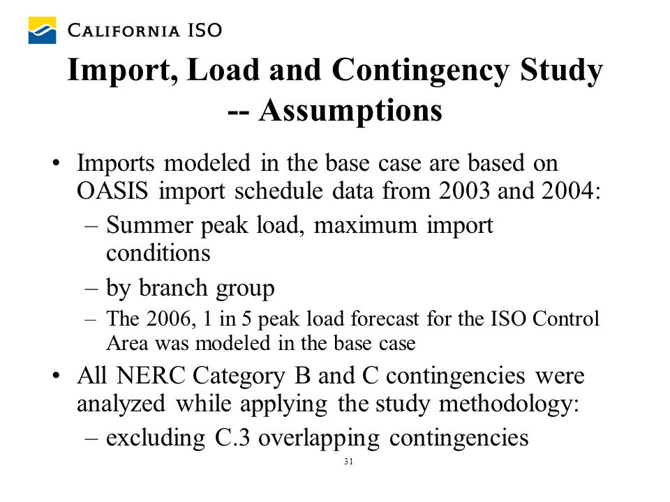 31 Import, Load and Contingency Study -- Assumptions Imports modeled in the base case are based on OASIS import schedule data from 2003 and 2004: –Sum