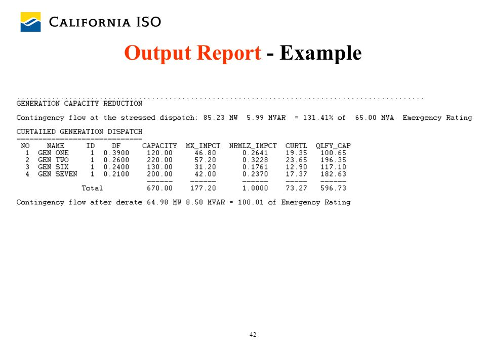 42 Output Report - Example