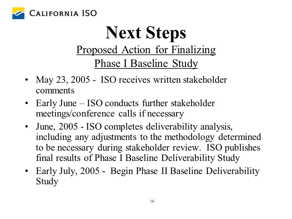 59 Next Steps Proposed Action for Finalizing Phase I Baseline Study May 23, 2005 - ISO receives written stakeholder comments Early June – ISO conducts