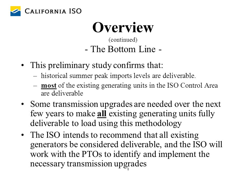 59 Next Steps Proposed Action for Finalizing Phase I Baseline Study May 23, 2005 - ISO receives written stakeholder comments Early June – ISO conducts further stakeholder meetings/conference calls if necessary June, 2005 - ISO completes deliverability analysis, including any adjustments to the methodology determined to be necessary during stakeholder review.