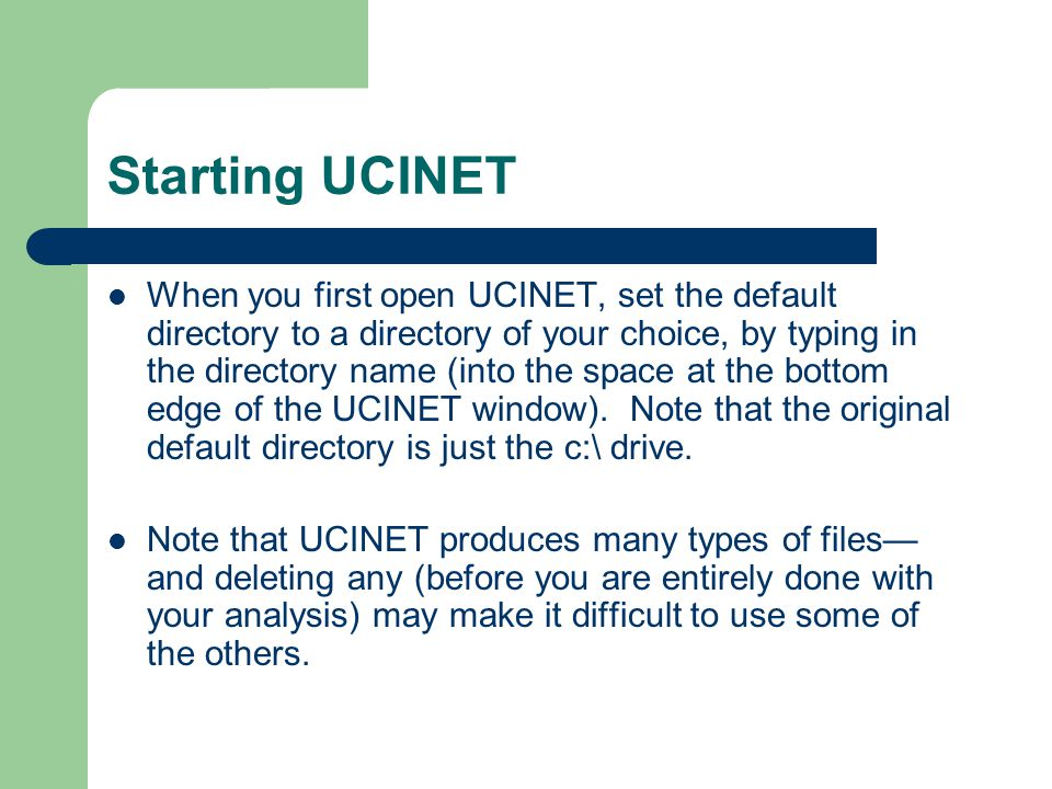 How to Read Data into UCINET There are several ways to read network data into UCINET.