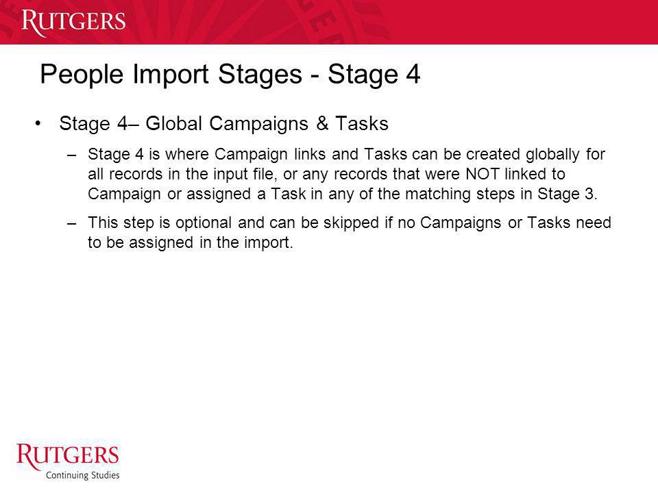 Unit Name People Import Stages - Stage 4 Stage 4– Global Campaigns & Tasks –Stage 4 is where Campaign links and Tasks can be created globally for all