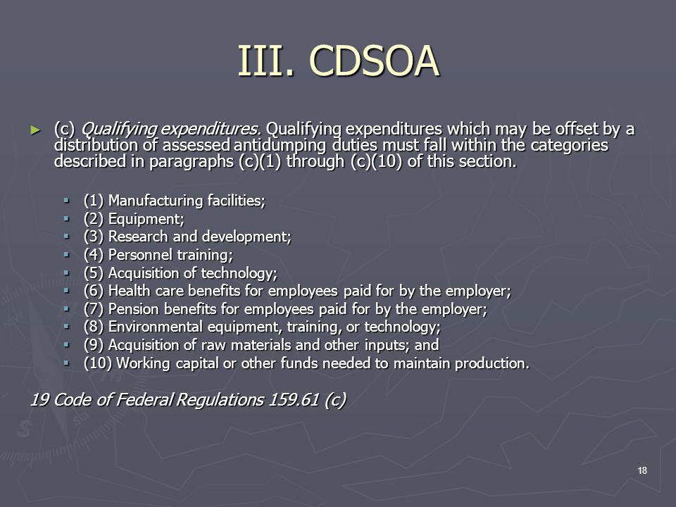 18 III. CDSOA ► (c) Qualifying expenditures.