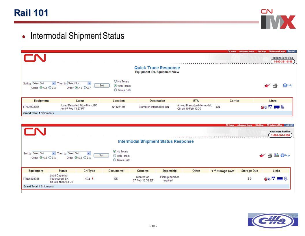 - 10 - Rail 101 - 10 -  Intermodal Shipment Status