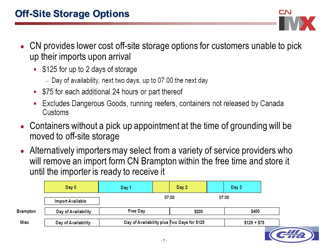 - 7 - Off-Site Storage Options - 7 -  CN provides lower cost off-site storage options for customers unable to pick up their imports upon arrival  $1