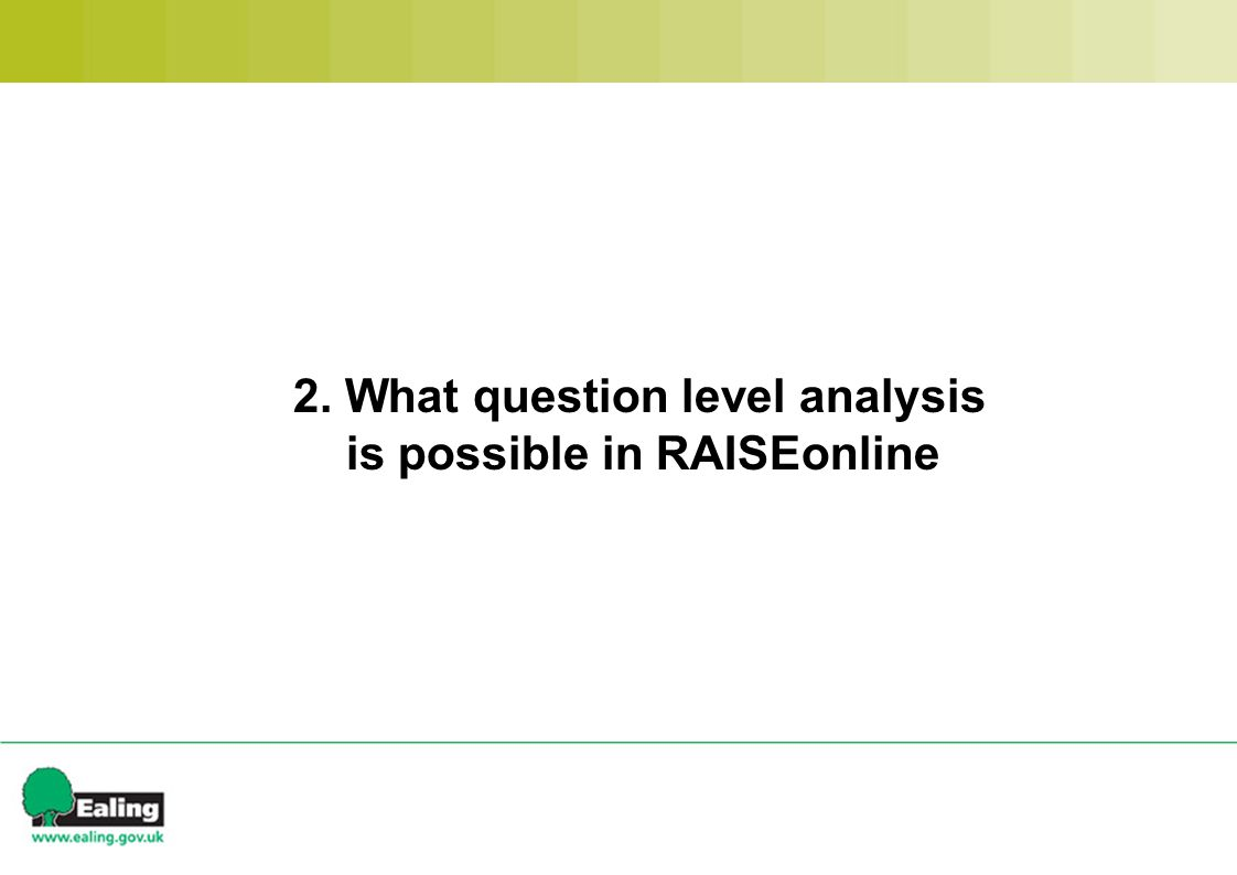 2. What question level analysis is possible in RAISEonline