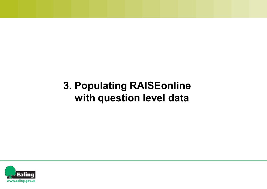 3. Populating RAISEonline with question level data