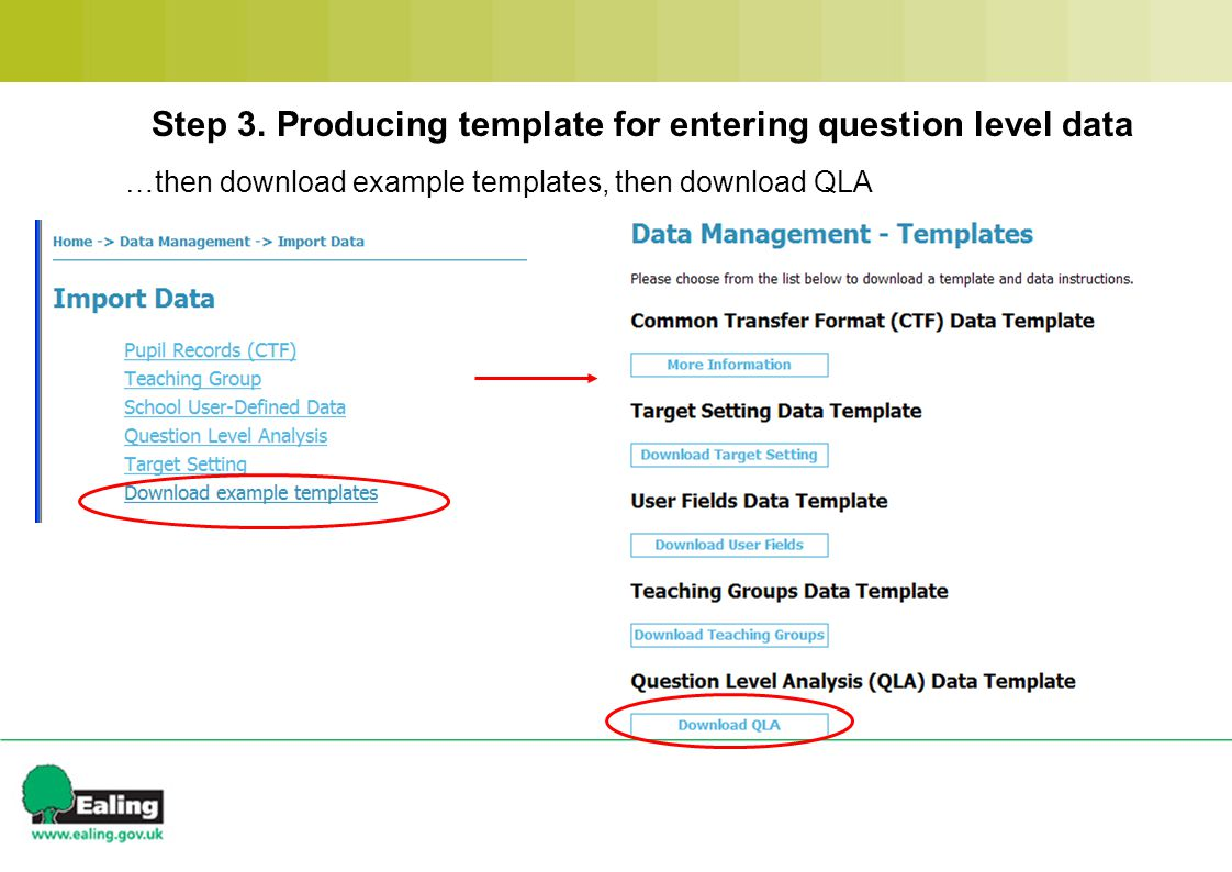 …then download example templates, then download QLA Step 3.