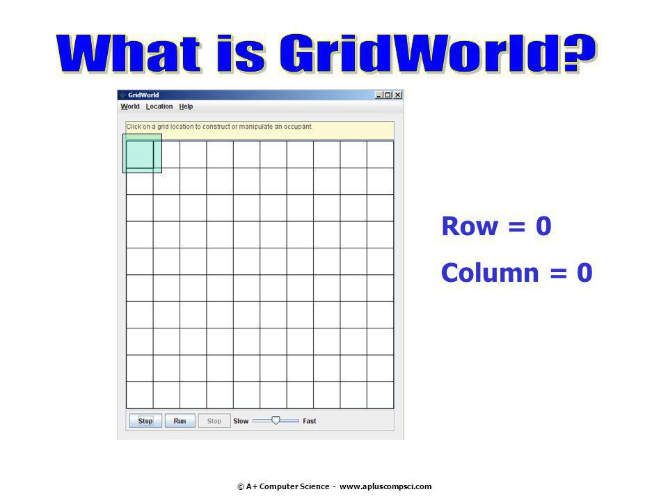 © A+ Computer Science - www.apluscompsci.com A grid is a structure that has rows and columns.