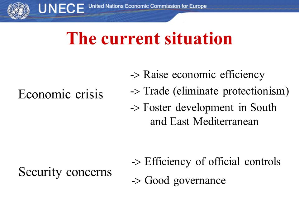 The current situation Economic crisis Security concerns -  Raise economic efficiency -  Trade (eliminate protectionism) -  Foster development in So