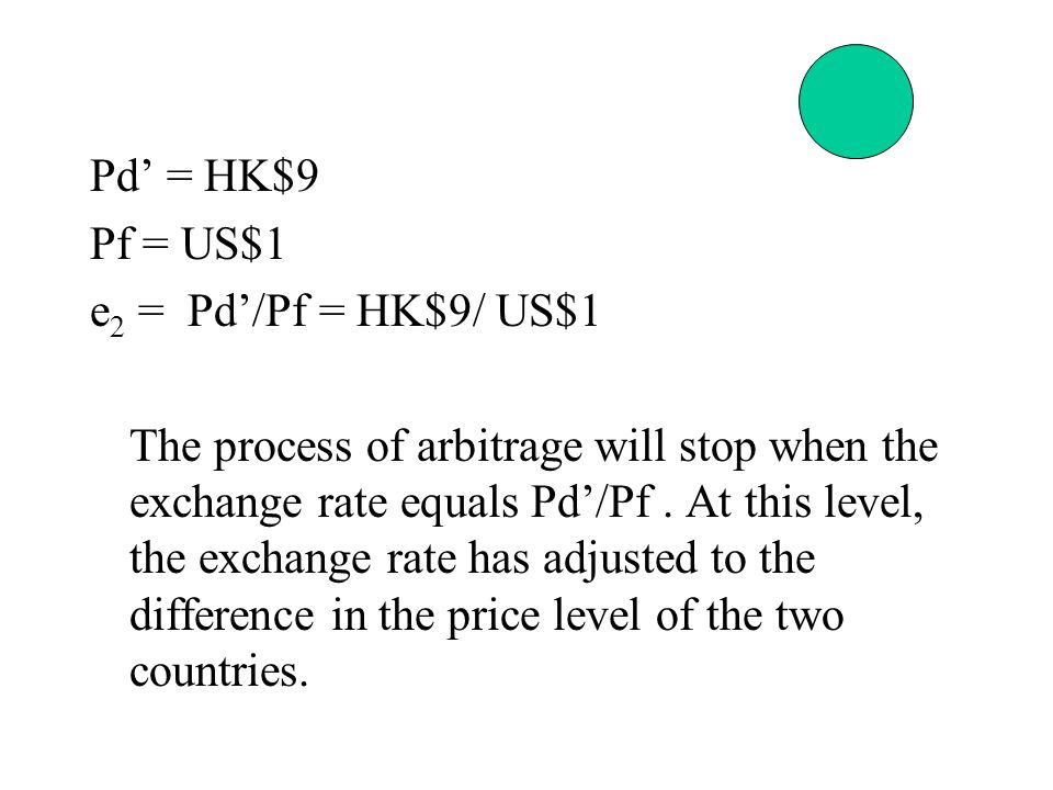 Pd' = HK$9 Pf = US$1 e 2 = Pd'/Pf = HK$9/ US$1 The process of arbitrage will stop when the exchange rate equals Pd'/Pf.