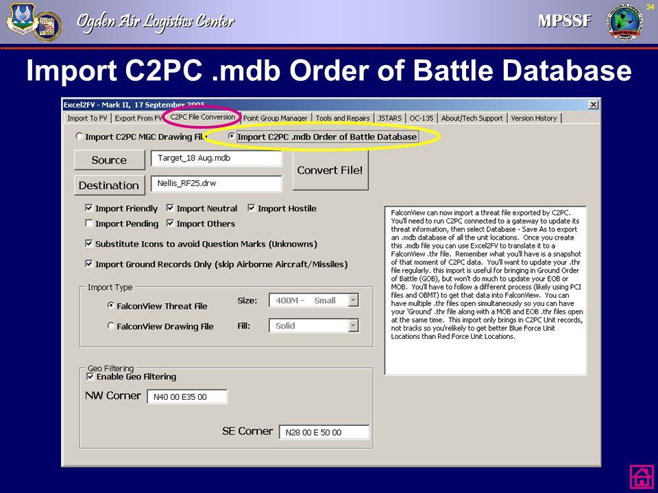 34 Import C2PC.mdb Order of Battle Database