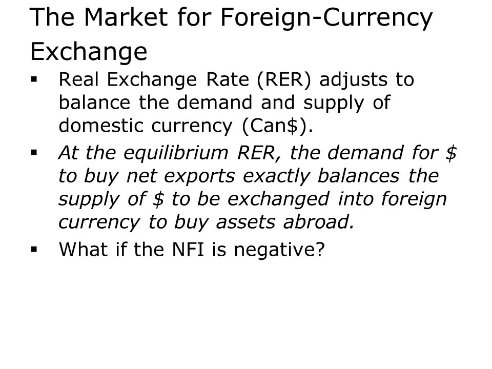 The Market for Foreign-Currency Exchange  Real Exchange Rate (RER) adjusts to balance the demand and supply of domestic currency (Can$).  At the equ