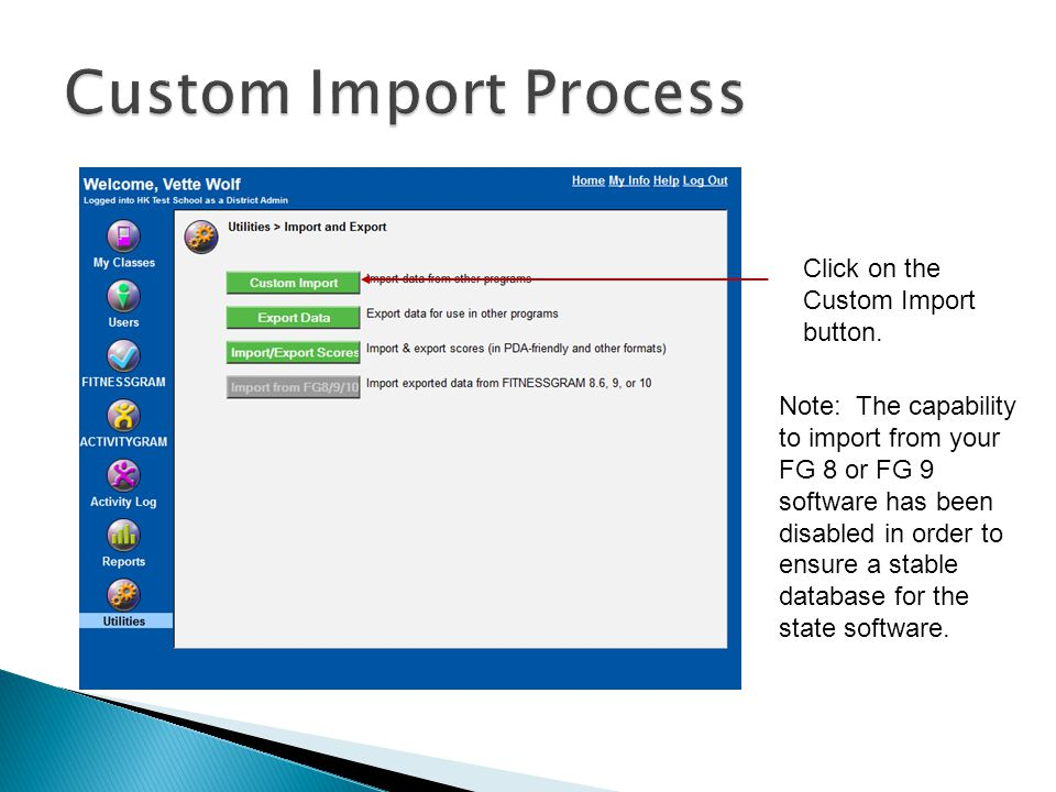 Click on the Custom Import button.