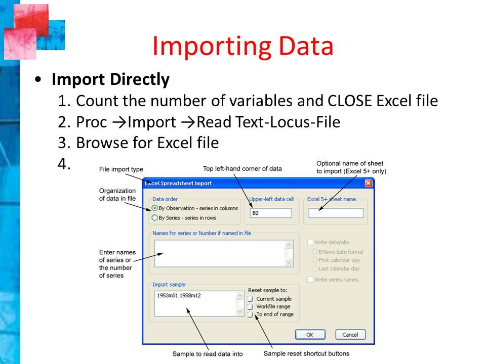 Exercise #3 Create a new page in the Workfile for the unstructured data in the Micro sheet Import, directly, the data from the Micro sheet