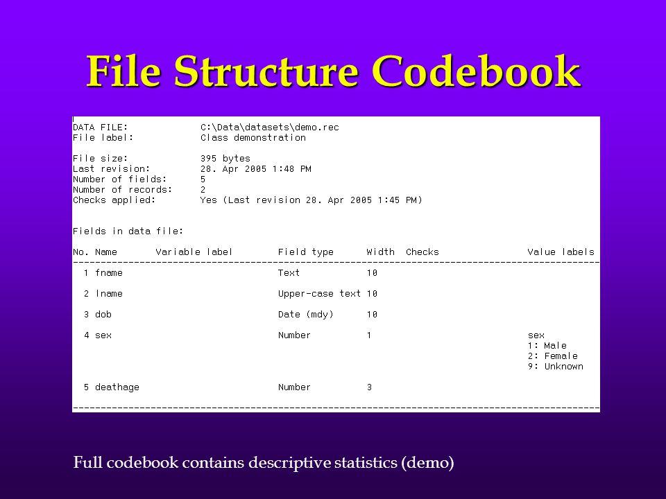 EpiData codebook generators