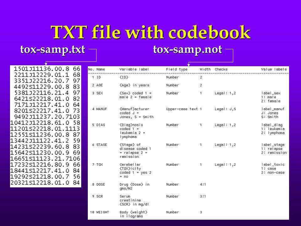 "Plain (""raw"") TXT data plain ASCII data formatplain ASCII data format no column demarcationsno column demarcations no variable namesno variable names"
