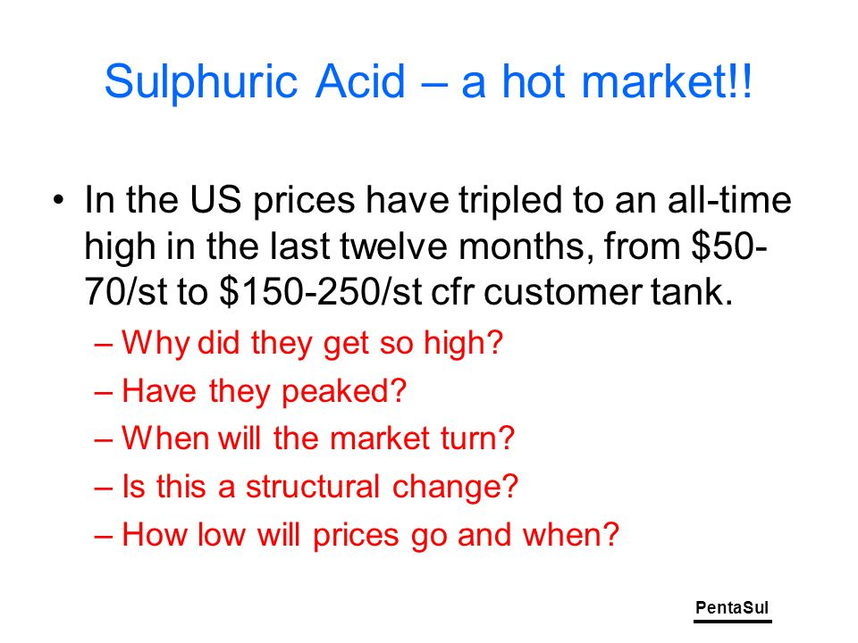 PentaSul Sulphuric Acid – a hot market!.