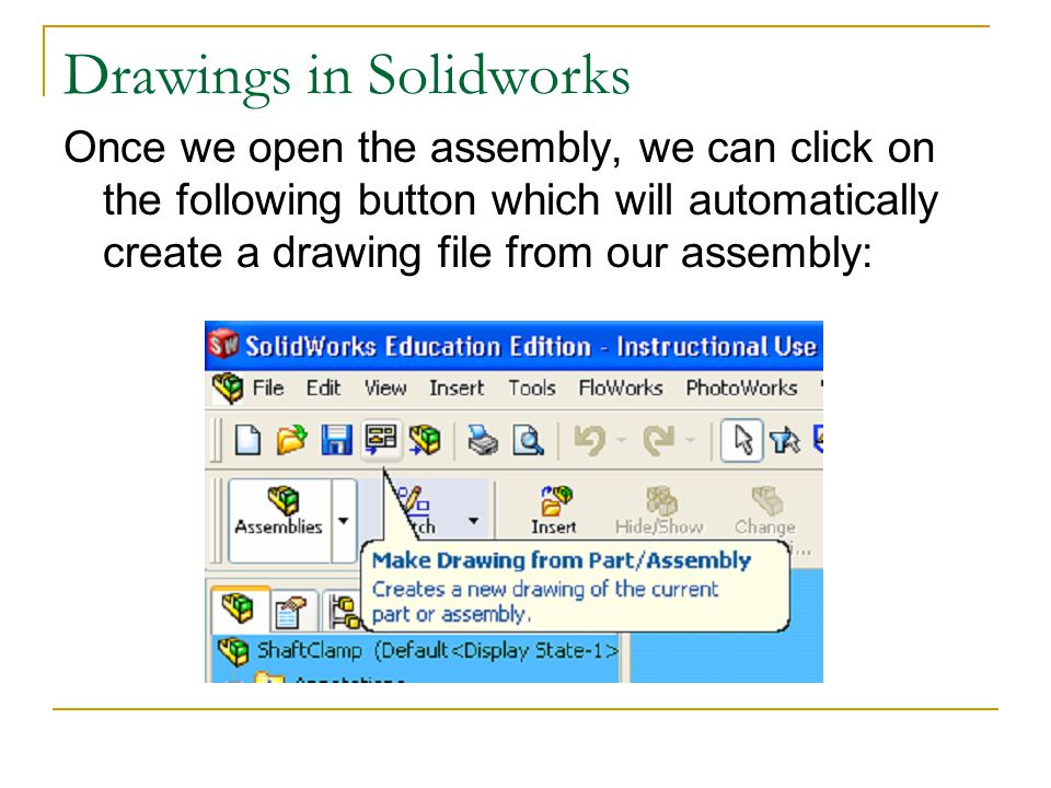 Drawings in Solidworks Once we open the assembly, we can click on the following button which will automatically create a drawing file from our assembl