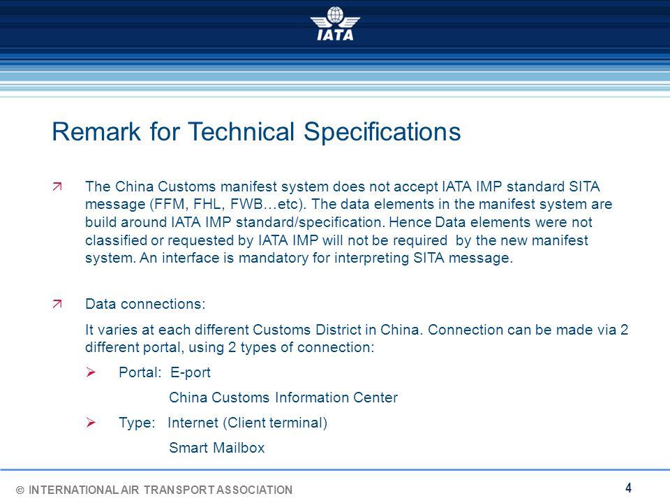  INTERNATIONAL AIR TRANSPORT ASSOCIATION 4  The China Customs manifest system does not accept IATA IMP standard SITA message (FFM, FHL, FWB…etc).
