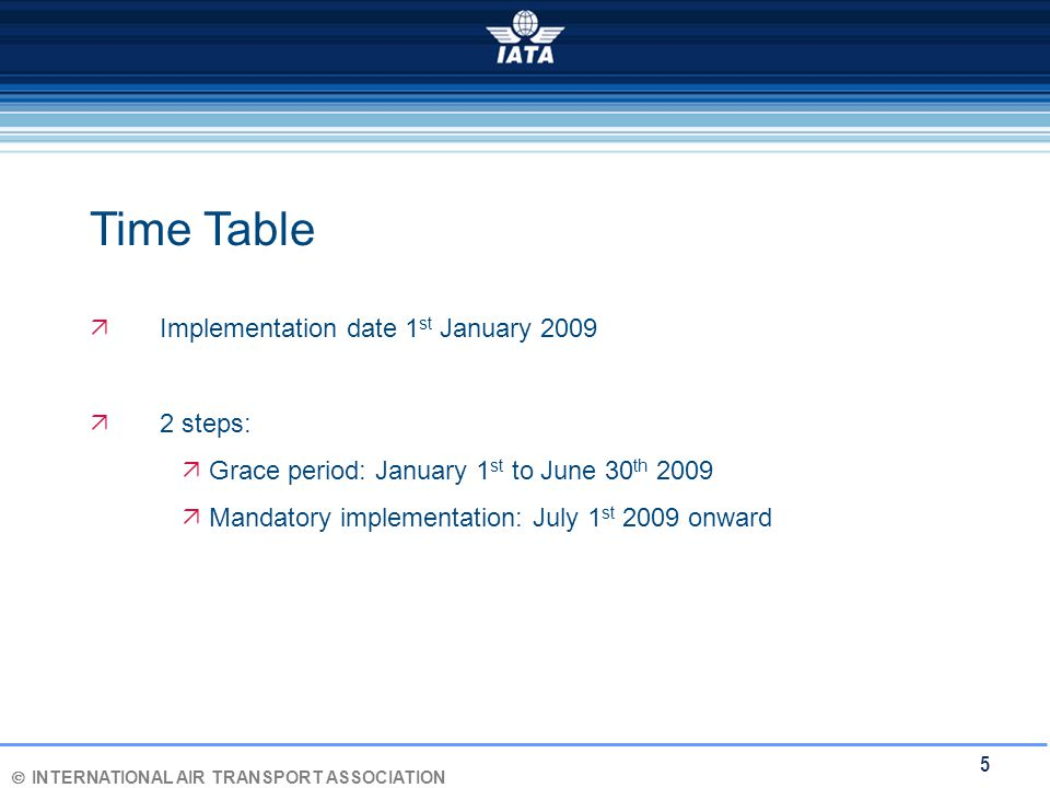 Ó INTERNATIONAL AIR TRANSPORT ASSOCIATION 5 Time Table  Implementation date 1 st January 2009  2 steps:  Grace period: January 1 st to June 30 th 2009  Mandatory implementation: July 1 st 2009 onward