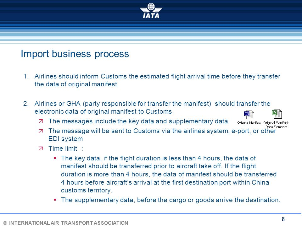 Ó INTERNATIONAL AIR TRANSPORT ASSOCIATION 8 Import business process 1.Airlines should inform Customs the estimated flight arrival time before they transfer the data of original manifest.