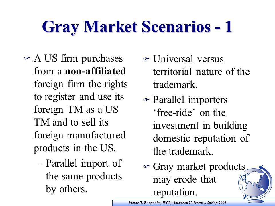 Victor H. Bouganim, WCL, American University, Spring 2001 Gray Market Scenarios - 1 F A US firm purchases from a non-affiliated foreign firm the right