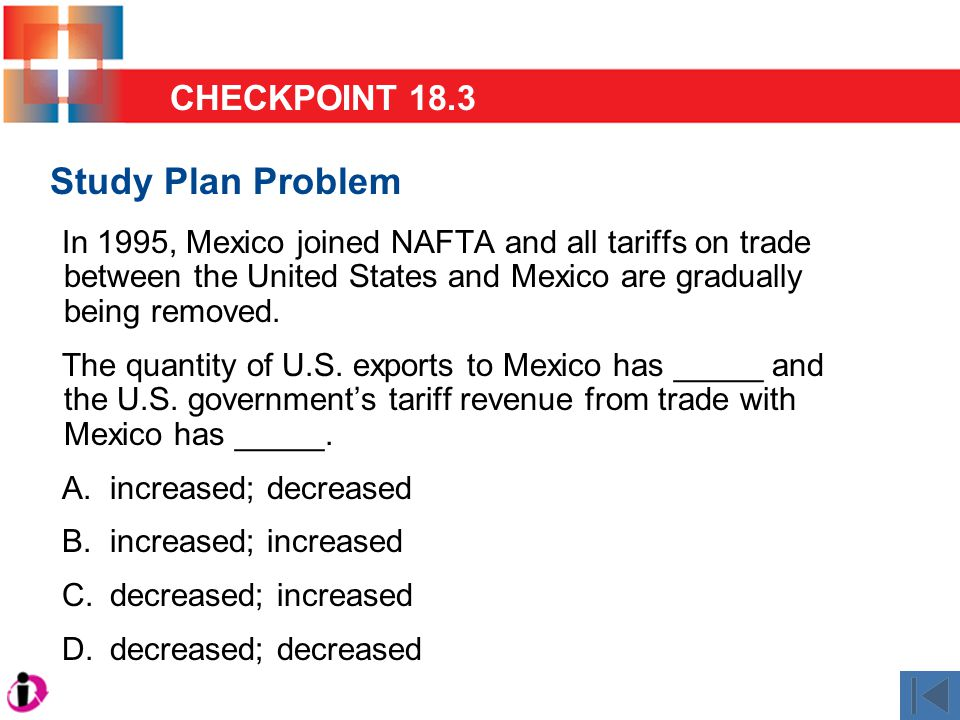 Study Plan Problem In 1995, Mexico joined NAFTA and all tariffs on trade between the United States and Mexico are gradually being removed.