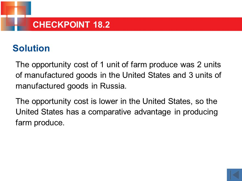 Solution The opportunity cost of 1 unit of farm produce was 2 units of manufactured goods in the United States and 3 units of manufactured goods in Russia.