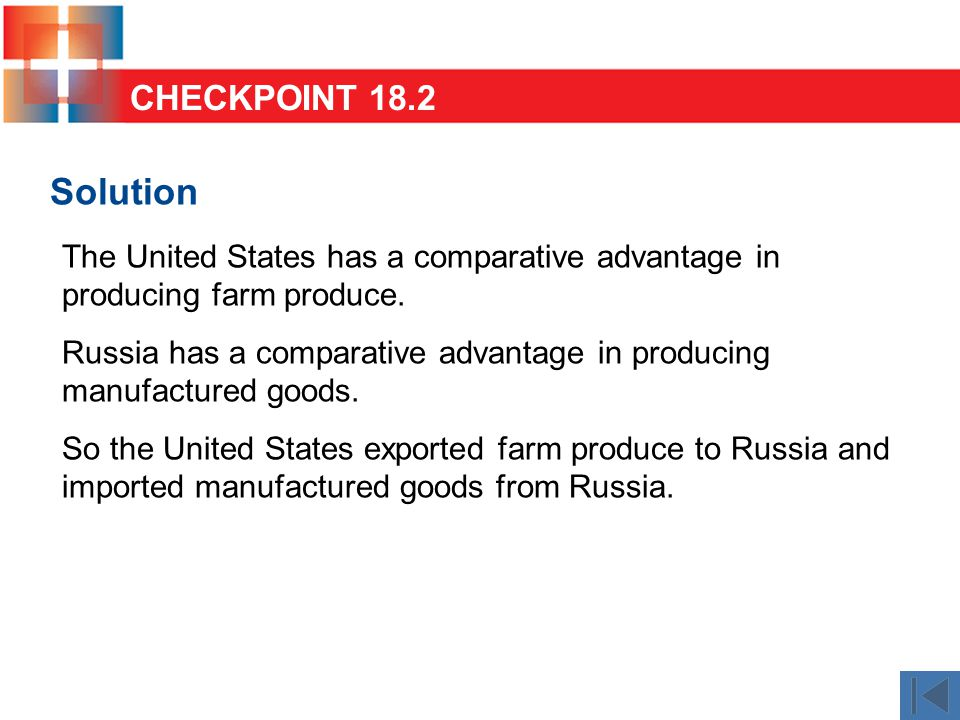 Solution The United States has a comparative advantage in producing farm produce. Russia has a comparative advantage in producing manufactured goods.