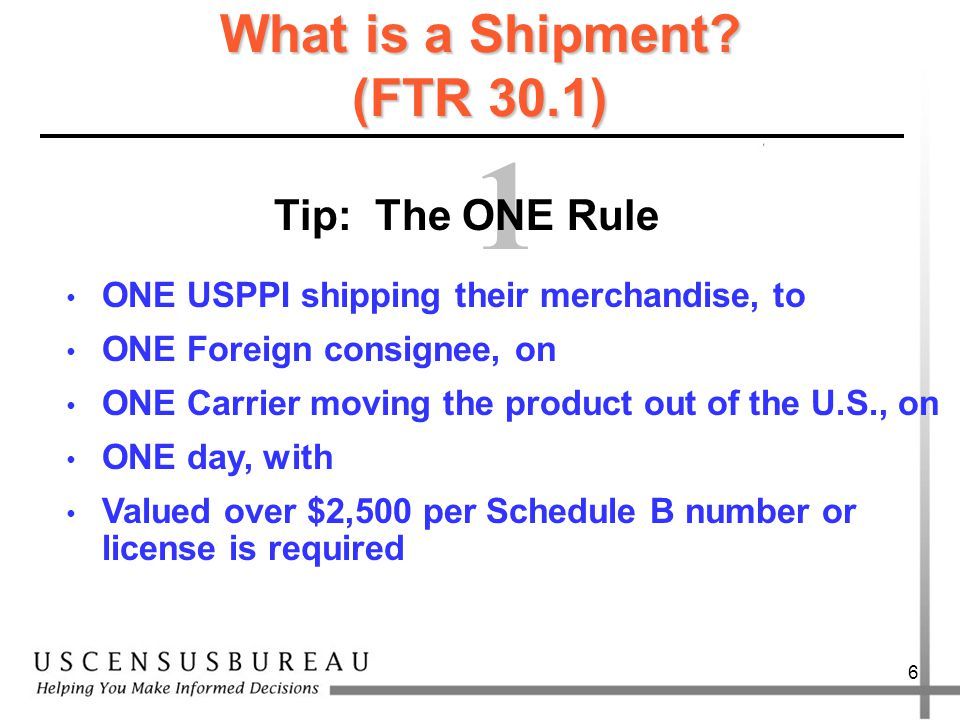 5 Legal Requirements Census Bureau Foreign Trade Regulations (FTR) 15 CFR, Part 30 Bureau of Industry and Security (BIS) Export Administration Regulations (EAR) 15 CFR, Parts 700 - 799 Customs and Border Protection (CBP) Customs Regulations Title 19 CFR, Parts 1 – 199 State Department International Traffic in Arms Regulations (ITAR) Title 22 CFR, Parts 120 – 130